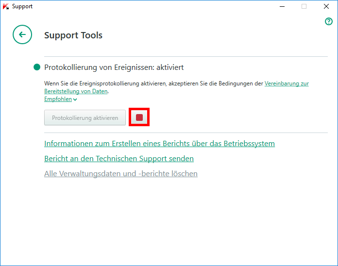 "Abbildung: Das Fenster ""Support Tools"" in Kaspersky Total Security 2018"