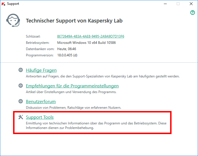 "Abbildung: Das Fenster ""Support"" in Kaspersky Total Security 2018"