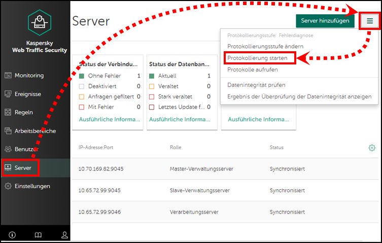 Starten der Protokollierung in Kaspersky Web Traffic Security 6.x