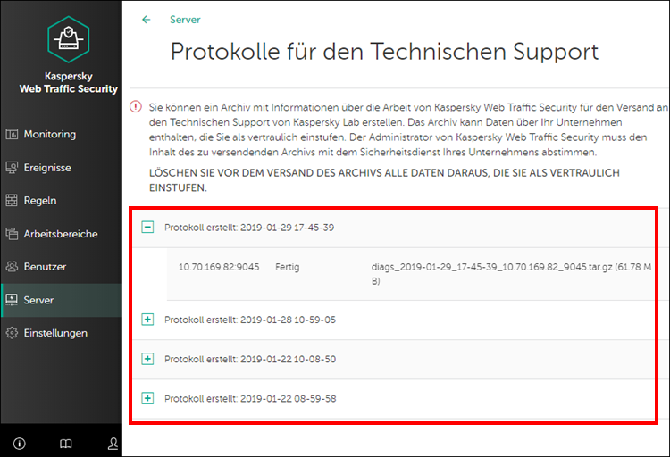 Protokollverlauf in Kaspersky Web Traffic Security 6.x