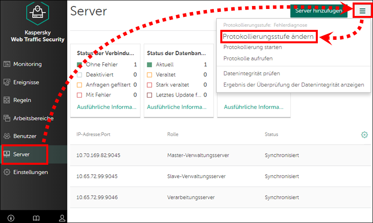 Ändern der Protokollierungsstufe in Kaspersky Web Traffic Security 6.x