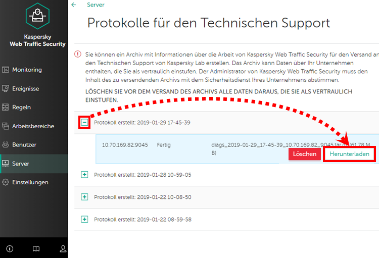 Speichern von Protokollen in Kaspersky Web Traffic Security 6.x