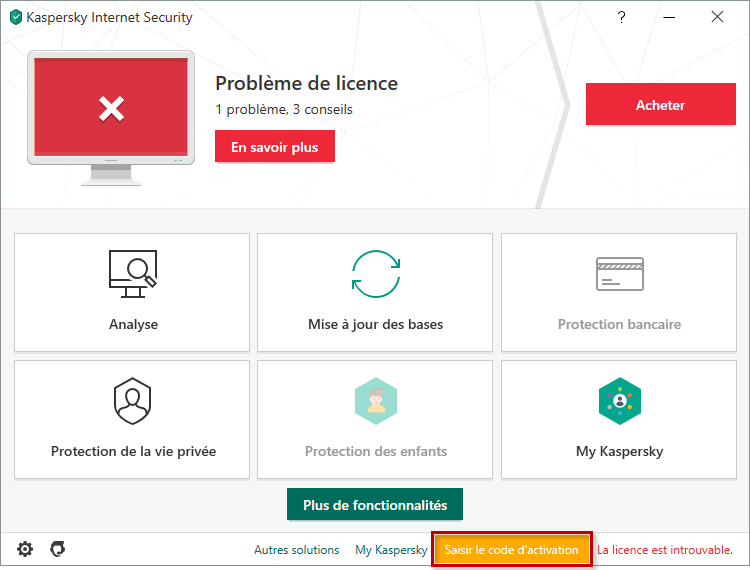 Passer à l'activation de Kaspersky Internet Security 20