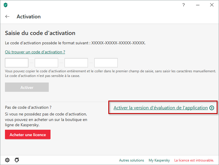 Activer la version d'évaluation de Kaspersky Internet Security 20