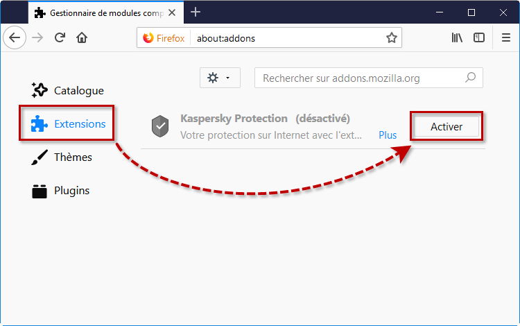 Activer l'extension Kaspersky Protection dans Mozilla Firefox