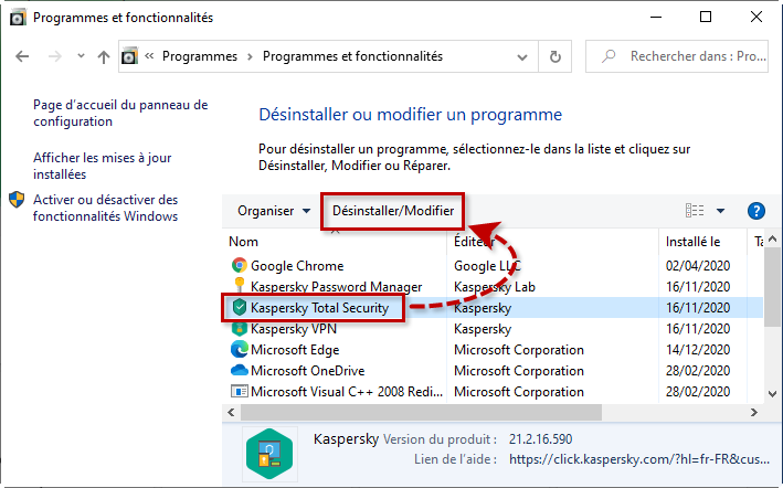 Désinstaller l'application de Kaspersky Lab