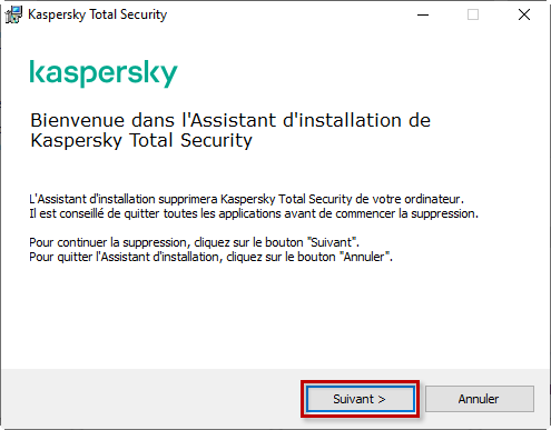 Procéder à la désinstallation de l'application de Kaspersky Lab