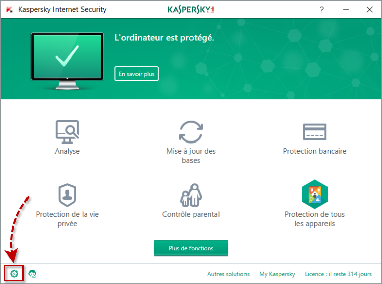 Fenêtre principale de l'application de Kaspersky