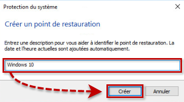Créer un point de restauration dans Windows 10