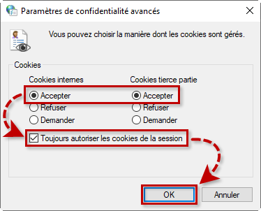 Autoriser les cookies dans Windows 10