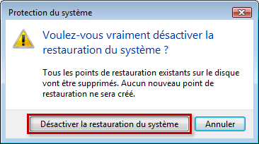 Confirmer la désactivation de la protection du système dans Windows Vista