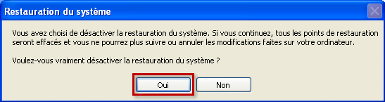 Confirmer la désactivation de la protection du système dans Windows XP