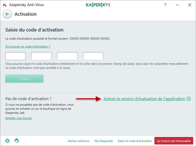 Image : activez la version d'évaluation de Kaspersky Anti-Virus 2018
