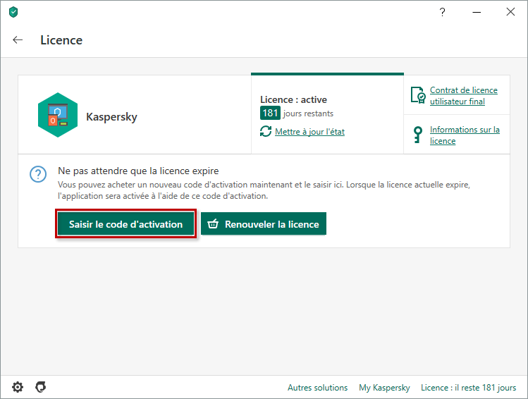 Passer à la saisie du code d'activation dans Kaspersky Internet Security 20