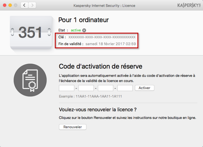 Image : la fenêtre Licence dans Kaspersky Internet Security 16 for Mac
