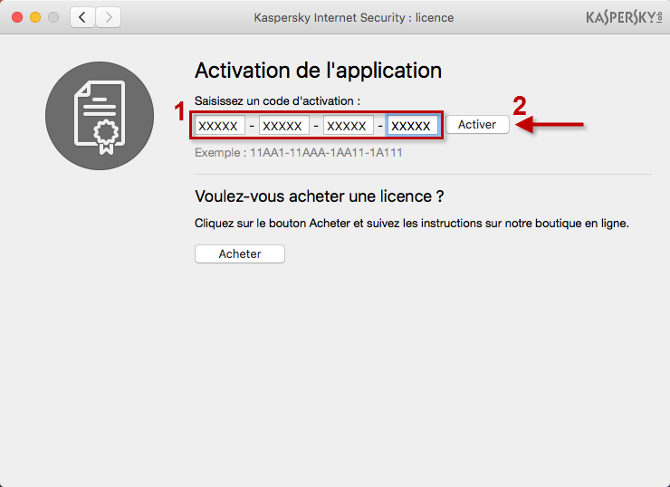 Image : activez Kaspersky Internet Security 18 for Mac avec un code d'activation