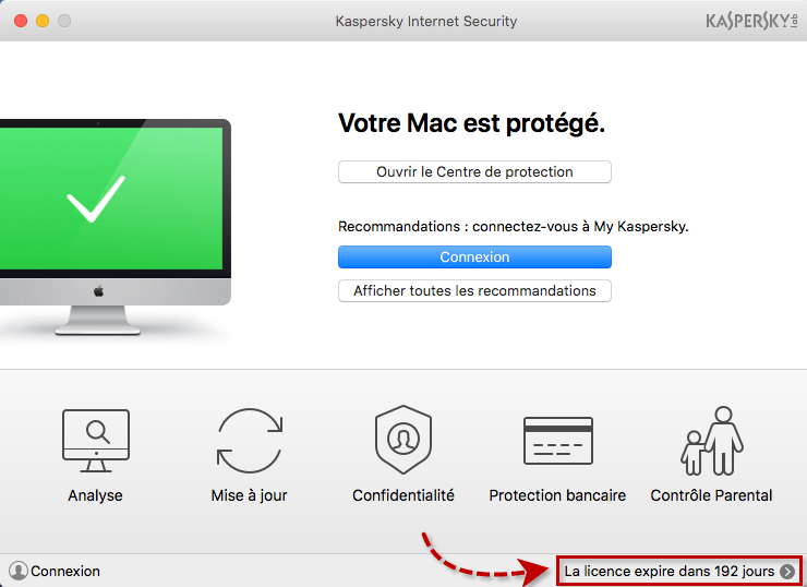 Image : fenêtre principale de Kaspersky Internet Security 18 for Mac.