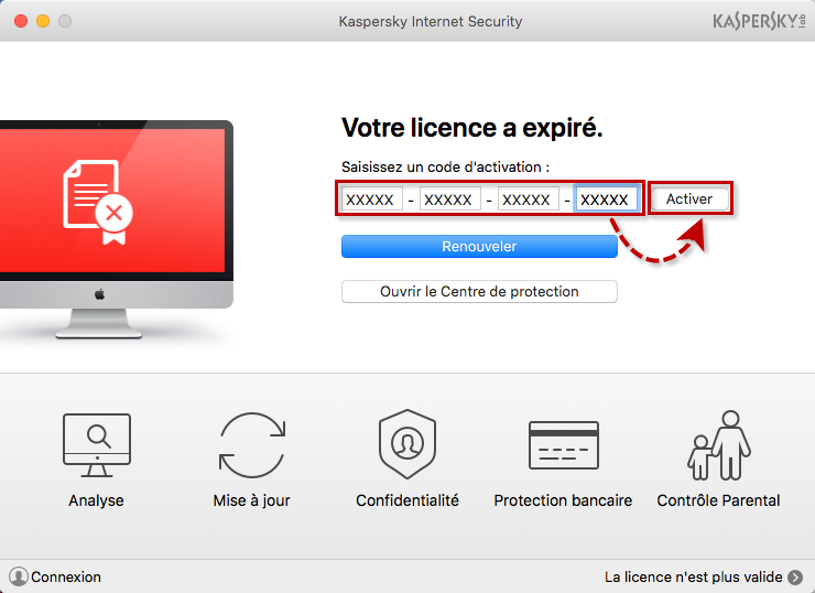Image : saisie du code d'activation dans la fenêtre principale de Kaspersky Internet Security 18 for Mac.