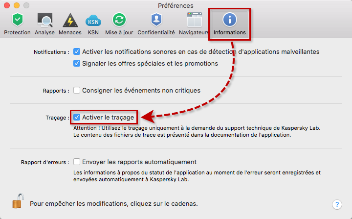 Activer le traçage de Kaspersky Internet Security 19 for Mac