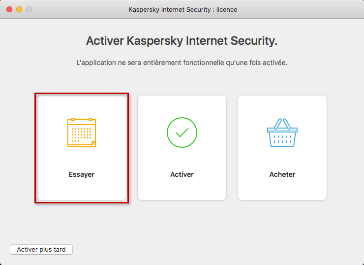 Accéder à l'activation de la version dévaluation dans Kaspersky Internet Security 19 for Mac