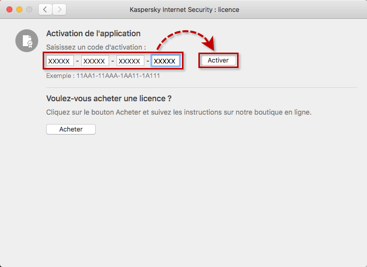 Activer Kaspersky Internet Security for Mac