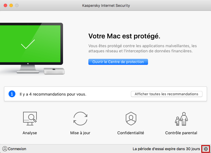 Accéder à l'activation de Kaspersky Internet Security 19 for Mac