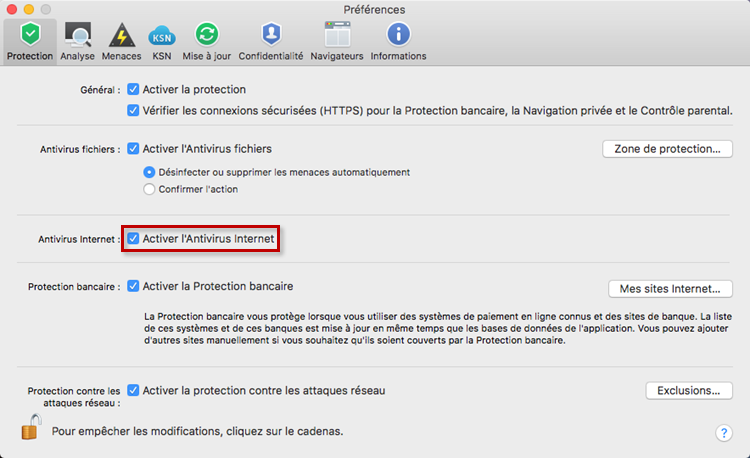 Activer l'Antivirus Internet dans Kaspersky Internet Security 19 for Mac