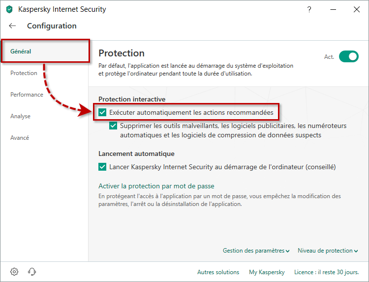 Activer le mode de protection automatique ou interactive dans Kaspersky Internet Security 19