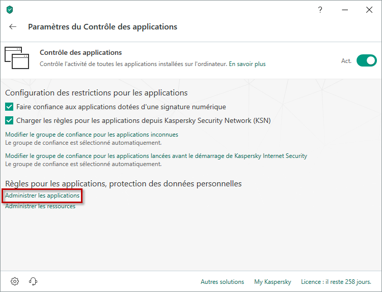 Passer à l'administration des applications dans Kaspersky Total Security 19