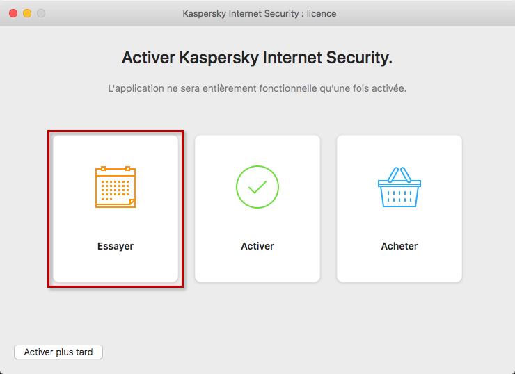 Accéder à l'activation de la version dévaluation dans Kaspersky Internet Security 20 for Mac
