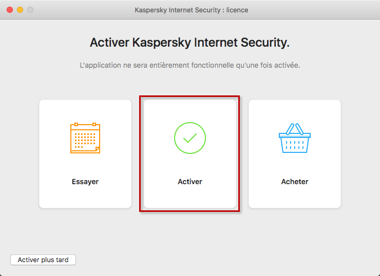 Accéder à l'activation de Kaspersky Internet Security 20 for Mac