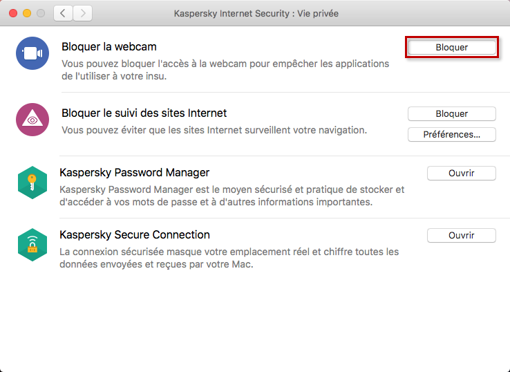 Bloquer l'accès à la webcam à l'aide de Kaspersky Internet Security 20 for Mac