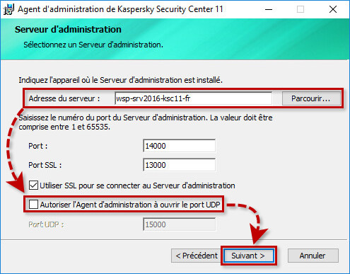 Configurer la communication de l'Agent d'administration avec le Serveur d'administration de Kaspersky Security Center 11