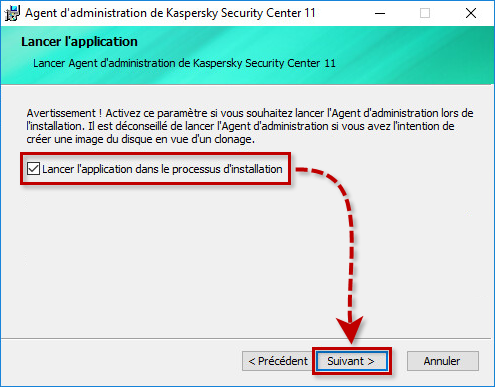 Activer le lancement de l'Agent d'administration de Kaspersky Security Center 11 lors de l'installation
