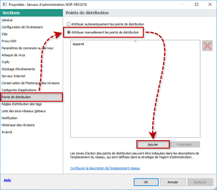 Configurer les points de distribution dans Kaspersky Security Center 11