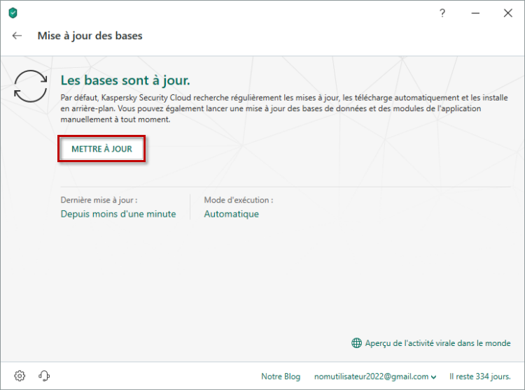 Lancer la mise à jour des bases de données antivirus de Kaspersky Internet Security 19 via l'interface de l'application