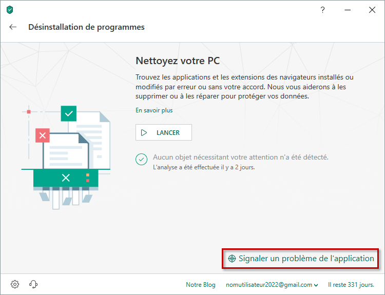 Signaler un problème de l'application via Kaspersky Internet Security 19