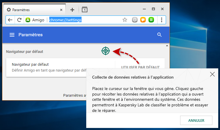 Collecte de données relatives à l'application dans Kaspersky Internet Security 19