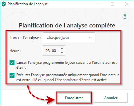 Configurer la programmation de l'analyse dans Kaspersky Security Cloud 19