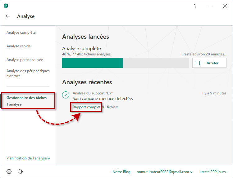 Consulter le rapport complet de l'analyse dans Kaspersky Security Cloud 19