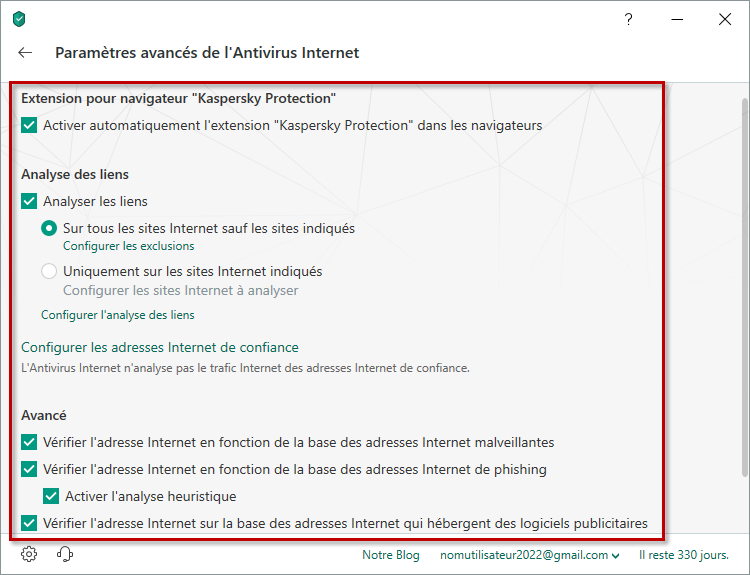Configuration avancée de l'Antivirus Internet dans Kaspersky Internet Security 19