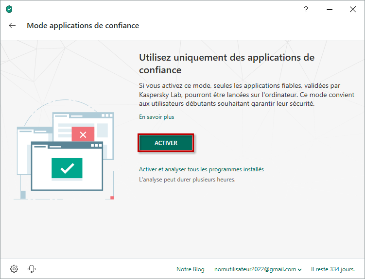Activer le Mode applications de confiance dans Kaspersky Internet Security 19