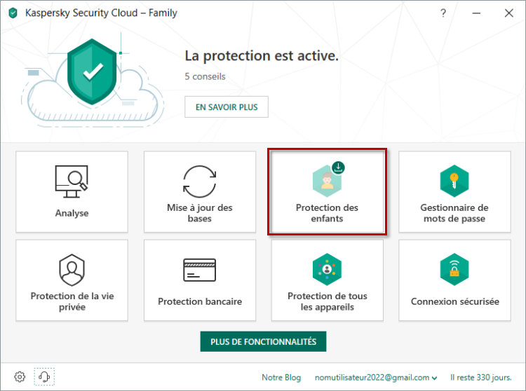 Passer à l'installation de Kaspersky Safe Kids dans Kaspersky Security Cloud 19