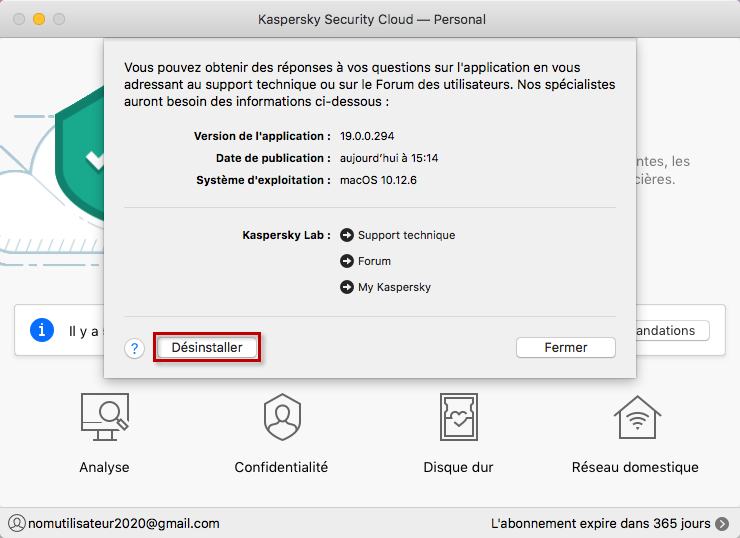 Désinstaller Kaspersky Security Cloud 19 for Mac