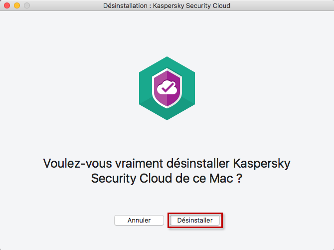 Confirmer la désinstallation de Kaspersky Security Cloud 19 for Mac