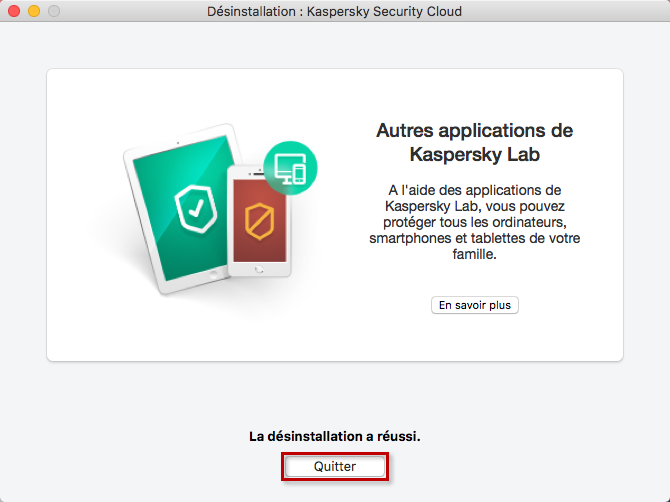 La désinstallation de Kaspersky Security Cloud 19 for Mac a réussi