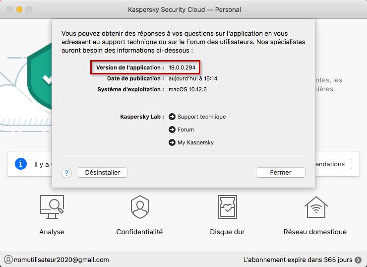 Consulter le numéro de version de Kaspersky Security Cloud 19 for Mac