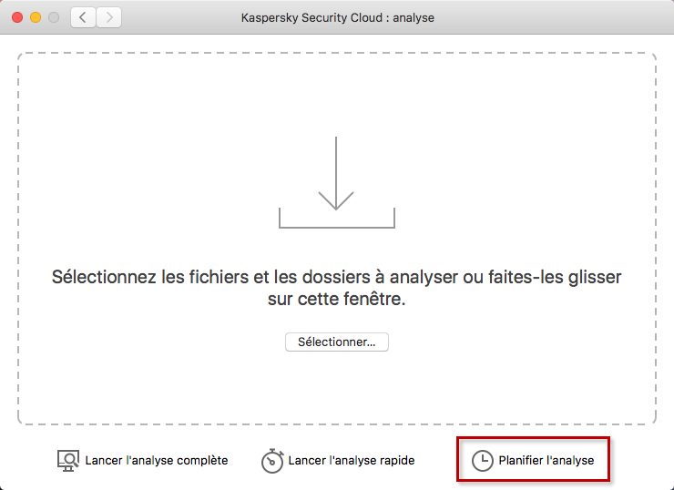 Planifier l'analyse dans Kaspersky Internet Security 19 for Mac