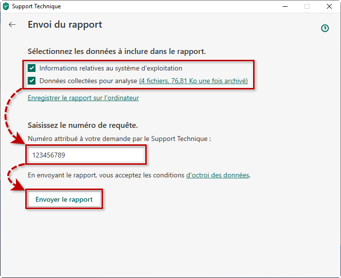 Envoi du rapport au support technique