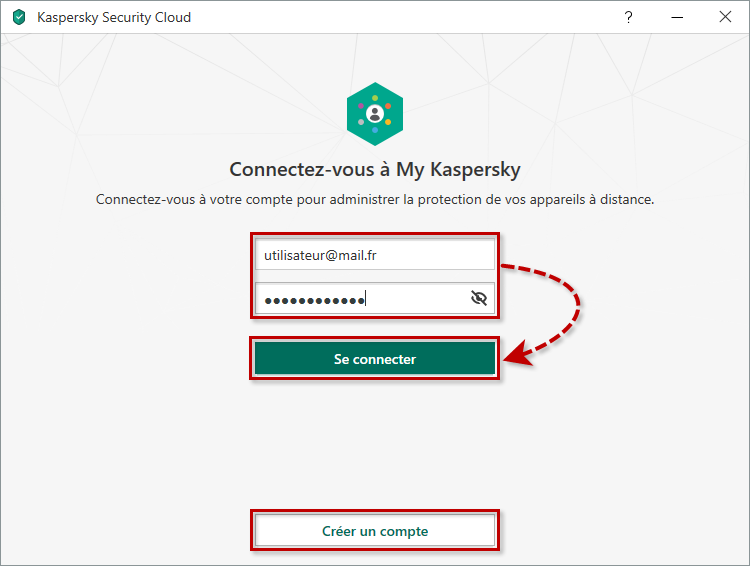 Se connecter à My Kaspersky après l'installation de Kaspersky Security Cloud 20